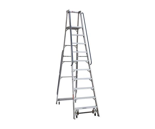 ✅ Escalera de aluminio de plataforma móvil con ruedas. IA. 10 escalones, capacidad 136 kg
