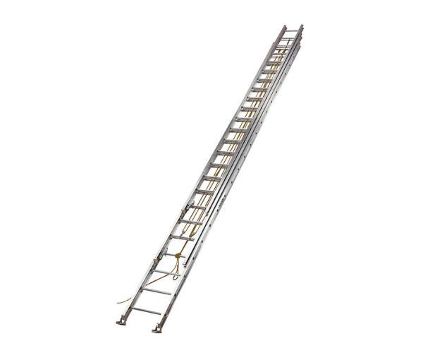 ✅ Escalera de extensión de aluminio. 60 escalones en 3 secciones. Capacidad de carga 113 kg.