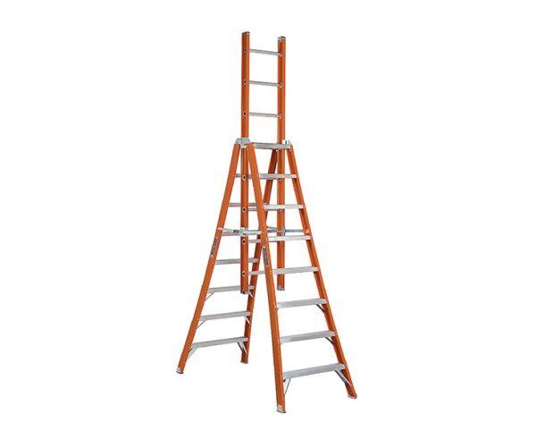✅ Escalera de tijera Triple Fibra de Vidrio 8 escalones Tipo IA. Capacidad de carga 136 Kg. No conductores de electricidad