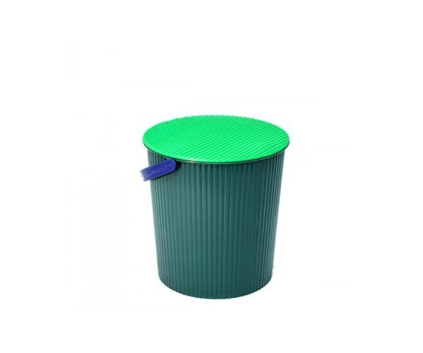 ✅ Cubeta Acanalada Con Tapa y Asa, 10 litros