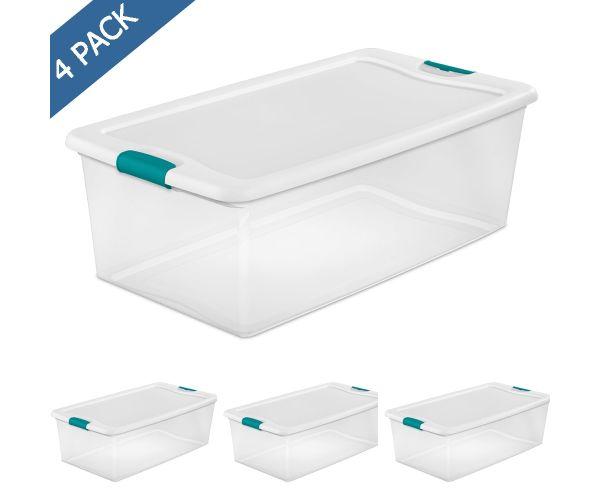 ✅ Caja de plástico transparente con tapa plana 100 litros