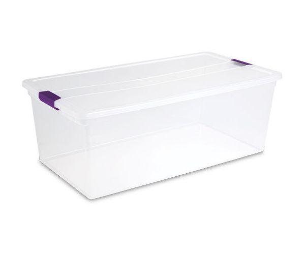 ✅ Sterilite caja de plástico transparente con tapa de broches 110 QTS / 104 litros
