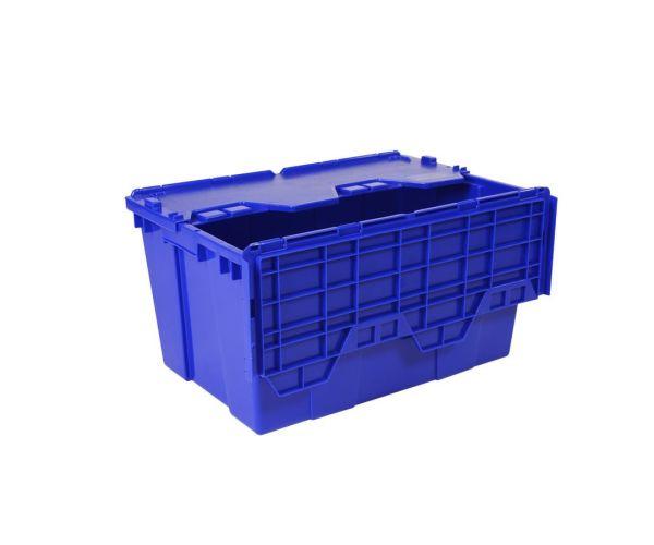 Caja de tipo industrial de polietileno, con capacidad de 30 kilogramos, con tapa. anidable o apilable