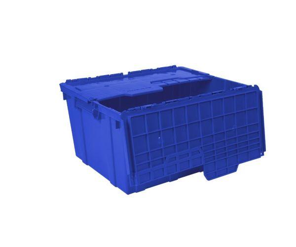 ✅ Caja de tipo industrial con bisagras de polietileno con capacidad de 35 kilogramos, con tapa, anidable y apilable 60x50 cm