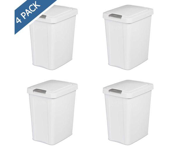 ✅ Cesto para basura de plástico Sterilite, cesto Touch top con tapa 7.5 gal / 28 litros