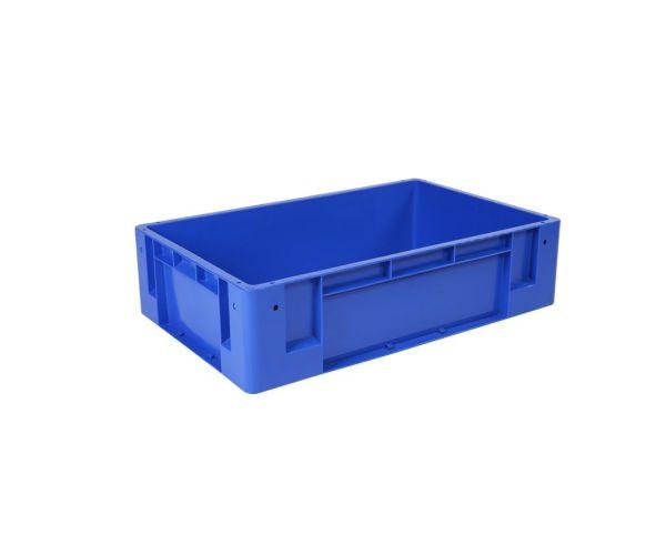 Caja de plástico de tipo industrial  apilable  de uso rudo, con capacidad de 50 kilogramos, # 4