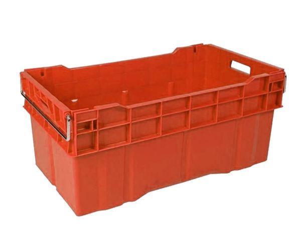 ✅ Caja de tipo industrial cerrada con asa de metal de polietileno con capacidad de 70 kilogramos