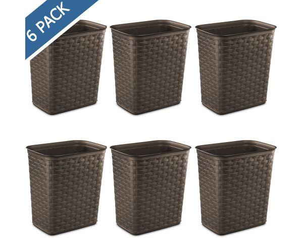 ✅ Bote de basura plástico tejido espresso  13 Litros