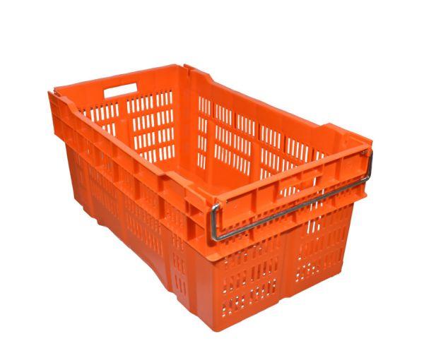 ✅ Caja de tipo industrial calada con asa de metal de polietileno con capacidad de 60 kilogramos