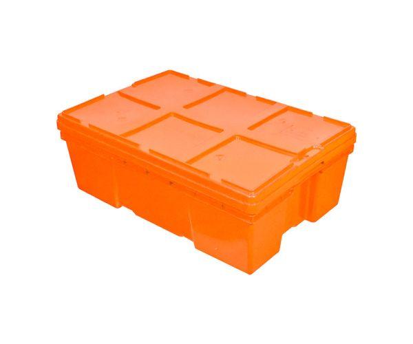 Caja de plástico de tipo industrial  con tapa, capacidad de 25 kilogramos, apilable  y anidable