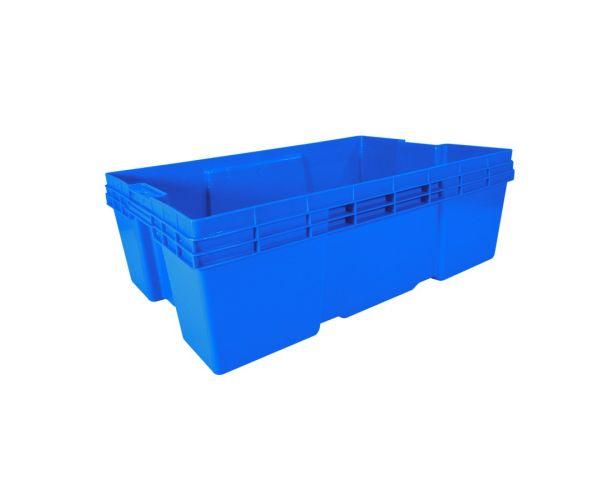 ✅ Caja de plástico de tipo industrial  con capacidad de 25 kilogramos, apilable  y anidable sin tapa