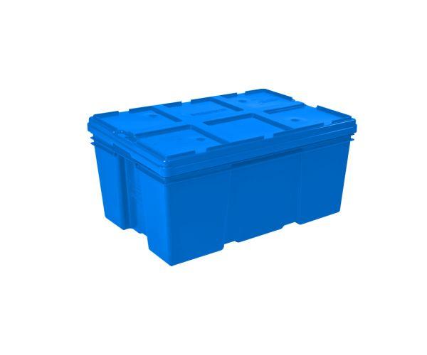 ✅ Caja de plástico de tipo industrial  con capacidad de 35 kilogramos con tapa