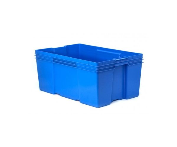 Caja de plástico de tipo industrial  con capacidad de 35 kilogramos sin tapa