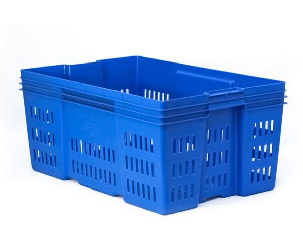Caja de tipo industrial calada de polietileno con capacidad de 30 kilogramos, sin tapa