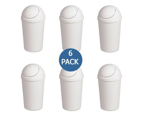 Cesto swing-top blanco, bote para basura con tapa de balancín redondo Sterilite 3 gal / 11.4 litros