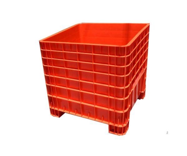 Contenedor mediano de tipo industrial de polietileno con tapa, capacidad de 250 kilogramos apilable