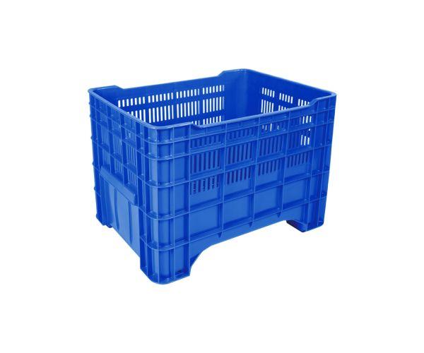 ✅ Contenedor de tipo industrial calado de polietileno sin tapa, capacidad de 200 kilogramos apilable