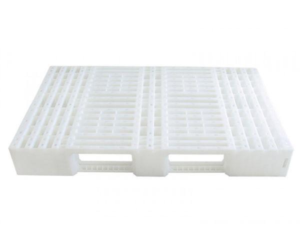 Tarima de plástico de tipo industrial  con capacidad de 1200 y 900 kilogramos, apilable 120x80cm