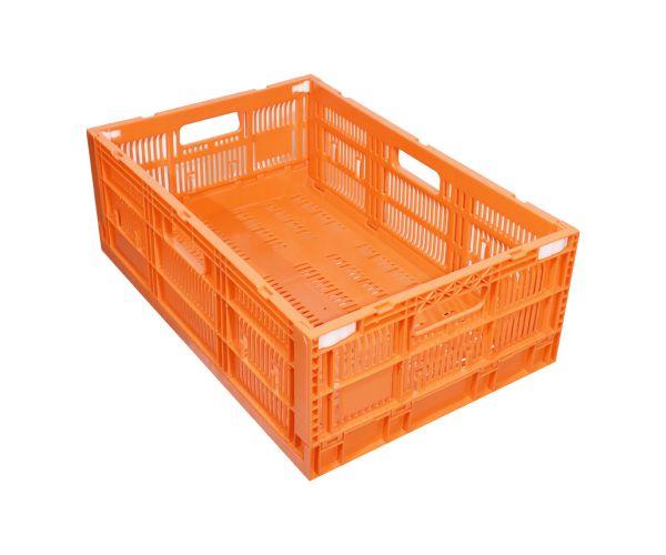 ✅ Caja de plástico tipo agrícola de polietileno, colapsable con capacidad de 20 kilogramos