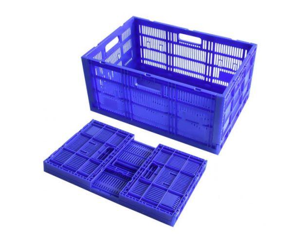Caja de plástico tipo agrícola de polietileno, colapsable con capacidad de 25 kilogramos