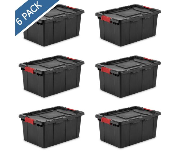 ✅ Caja Tote industrial  con tapa y broches de 57  litros sterilite