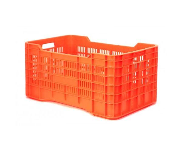 Caja de tipo agrícola calada de plástico con capacidad de 70 kilogramos y apilable