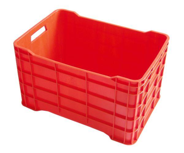 ✅ Caja de tipo agrícola cerrada de plástico con capacidad de 45 kilogramos y apilable  56x37cm