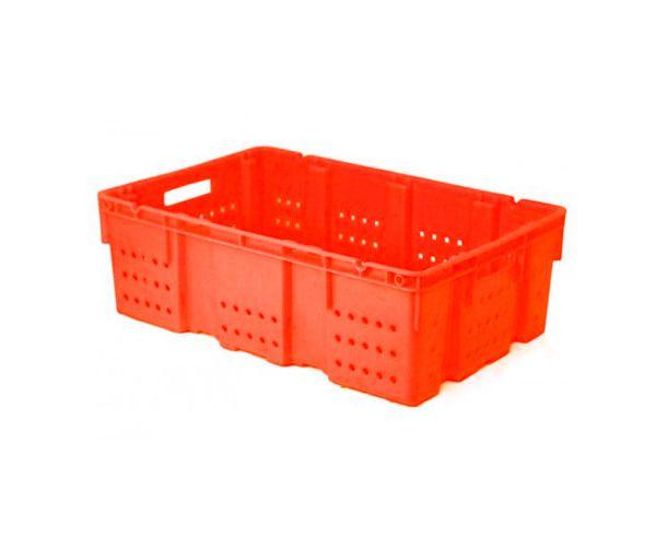 ✅ Caja de tipo industrial multicontenedor de polietileno con capacidad de 25 kilógramos y apilable y anidable