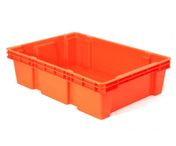 Caja de tipo industrial multicontenedor cerrado de polietileno con capacidad de 10 kilógramos y apilable y anidable