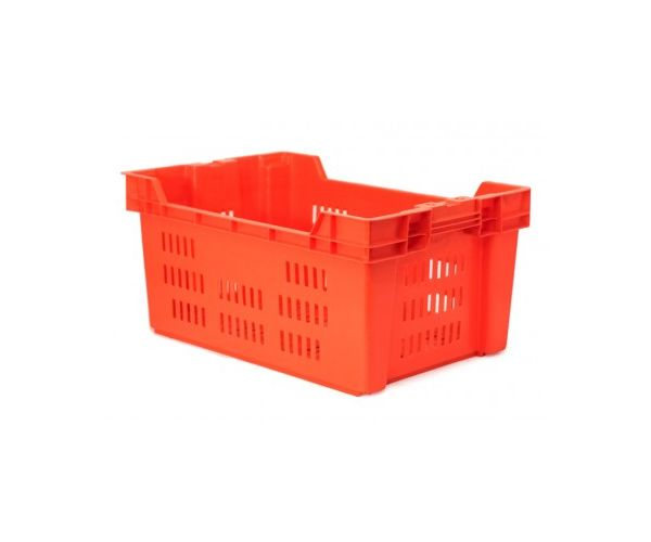 Caja de tipo agrícola cala de plástico con capacidad de 30 kilogramos anidable y apilable