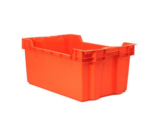 Caja de tipo agrícola cala de plástico con capacidad de 35 kilogramos anidable y apilable