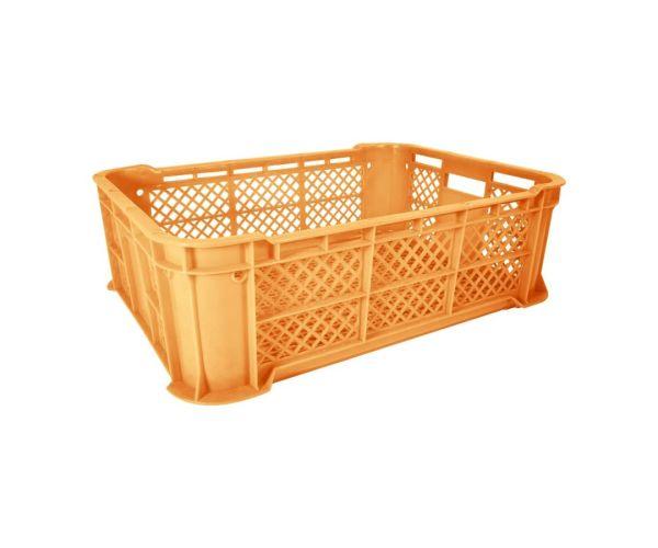 Caja de tipo agrícola rectangular de plástico con capacidad de 20 kilogramos, calada y apilable