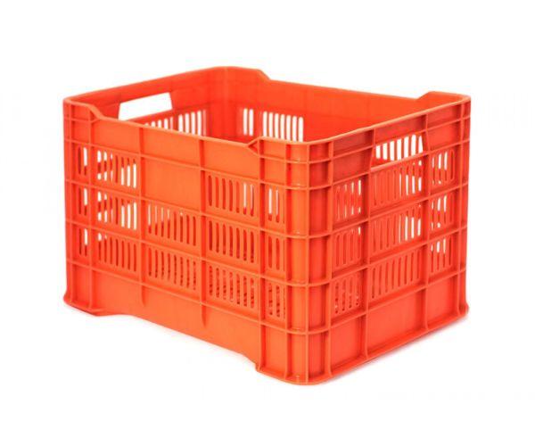 ✅ Caja de tipo agrícola calada de plástico con capacidad de 25 kilogramos y apilable
