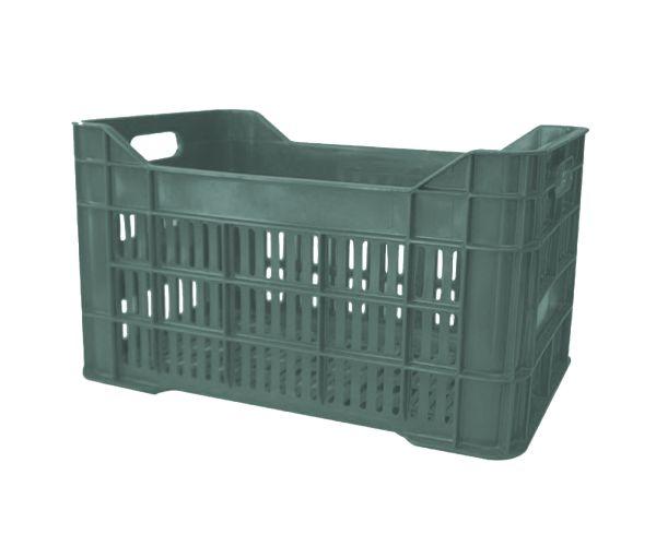 Caja de tipo agrícola grande calada de polietileno con capacidad de 30 kilogramos, apilable y con medidas de 52x34.3cm