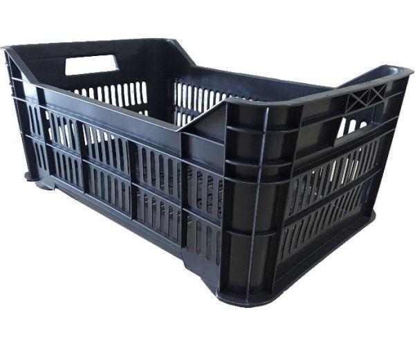 ✅ Caja de tipo agrícola mediana calada de polietileno con plástico reciclado y capacidad de 25 kilogramos, apilable y medidas de 53x34.5cm