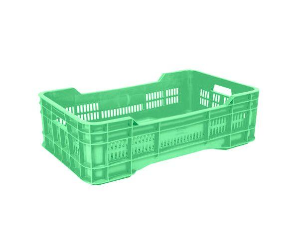✅ Caja de tipo agrícola con plástico reciclado, mediana calada de polietileno con capacidad de 25 kilogramos, apilable y con medidas de 73x43cm