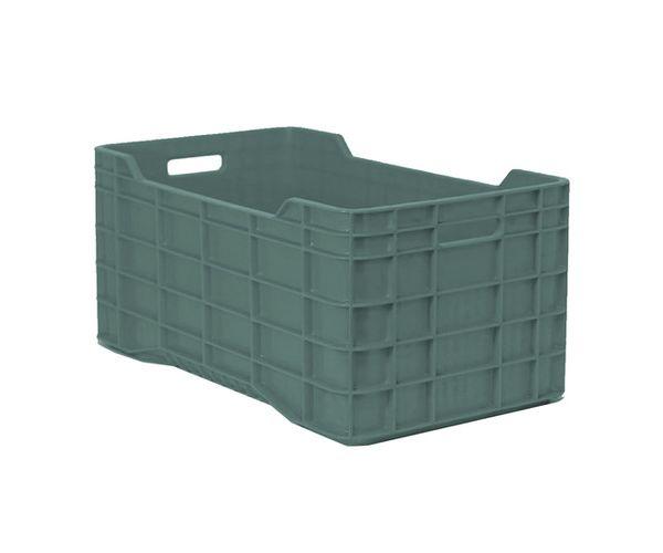 ✅ Caja de tipo agrícola con plástico reciclado, calada de polietileno con capacidad de 60 kilogramos, apilable y con medidas 71x39.5cm