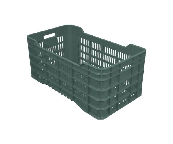 Caja de tipo agrícola con plástico reciclado, calada de polietileno con capacidad de 50 kilogramos, apilable y con medidas 71x39.5cm
