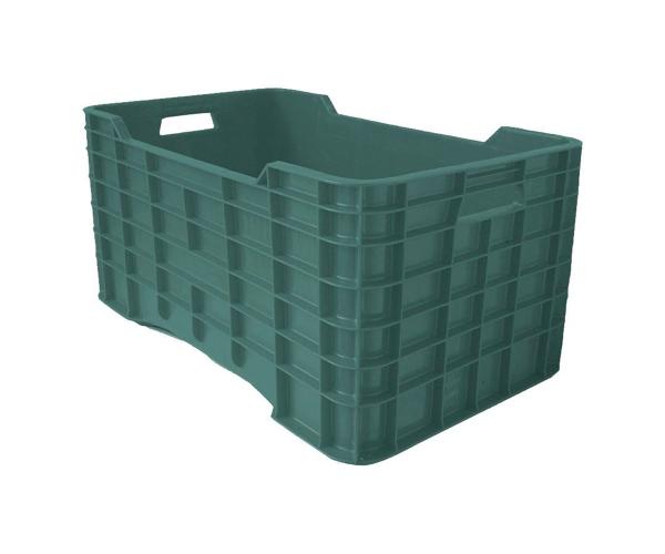 ✅ Caja de tipo agrícola con plástico reciclado, cerrada de polietileno con capacidad de 50 kilogramos, apilable y medidas de 73x42cm