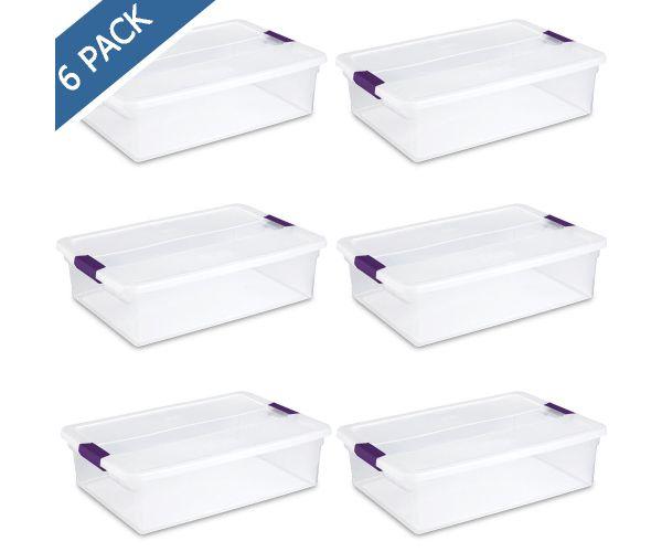 ✅ Caja de plástico con tapa Sterilite para almacenar, contenedor clearview de broches 32 QT / 30.27 litros