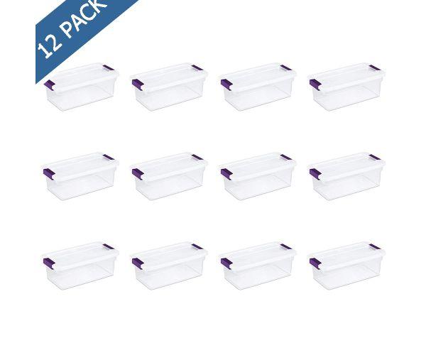 Caja de plástico Sterilite transparente con pestillos con tapa 6 QT / 5.67 litros