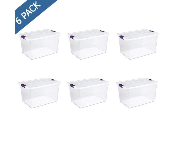 ✅ Caja almacén clearview con broches, Sterilite caja de plástico con tapa 66 QT / 62 litros