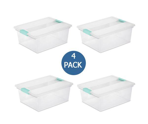 ✅ Caja de plástico Sterilite con tapa de broches clip