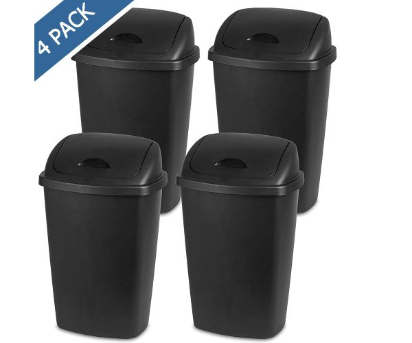 ✅ Cesto con tapa de columpio de plástico Sterilite, contenedor para basura 50 litros