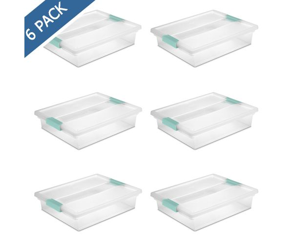 ✅ Organizador largo de plástico transparente con tapa de pestillos