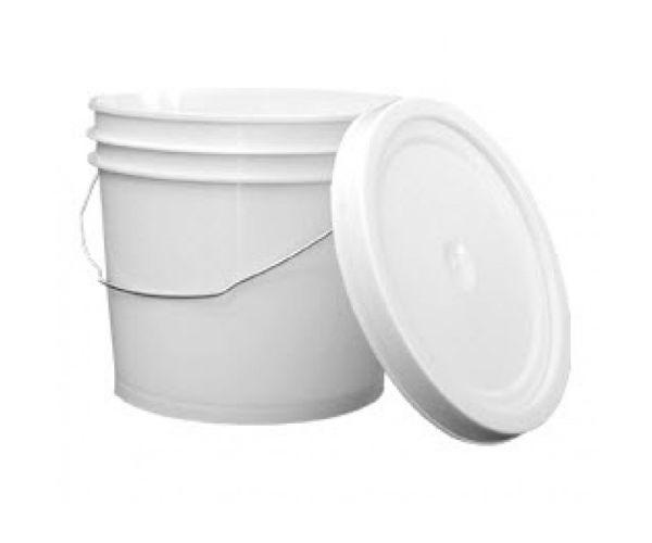 ✅ Cubeta de plástico 4 litros reciclada con tapa lisa con asa metálica