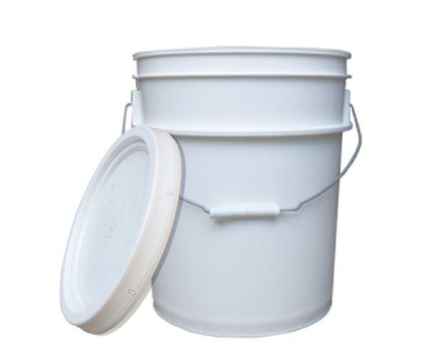 ✅ Cubeta de plástico 19 litros blanca de 1ra con tapa lisa