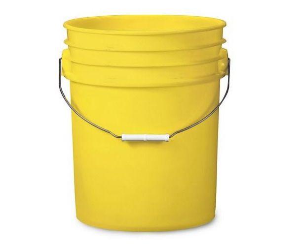 ✅ Cubeta de plástico 19 litros amarillo con tapa lisa (reciclada)