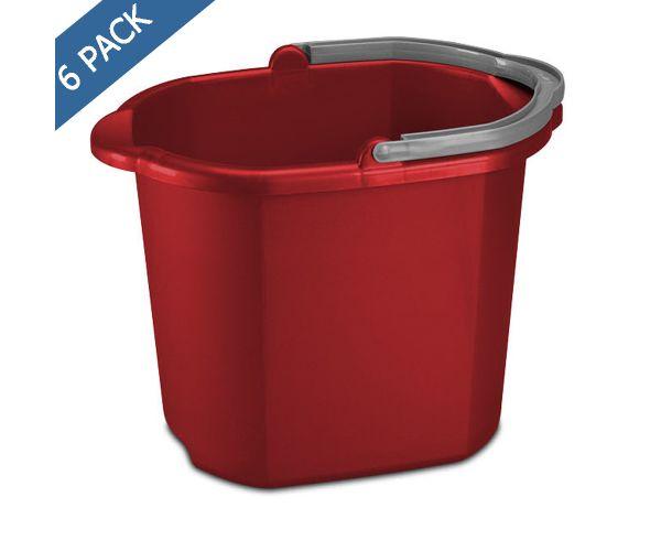 ✅ Cubeta de plástico con vertedor 15.3 litros / 16 QT color rojo Sterilite