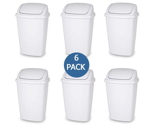 ✅ Cesto de plástico Sterilite con tapa de columpio 28 litros